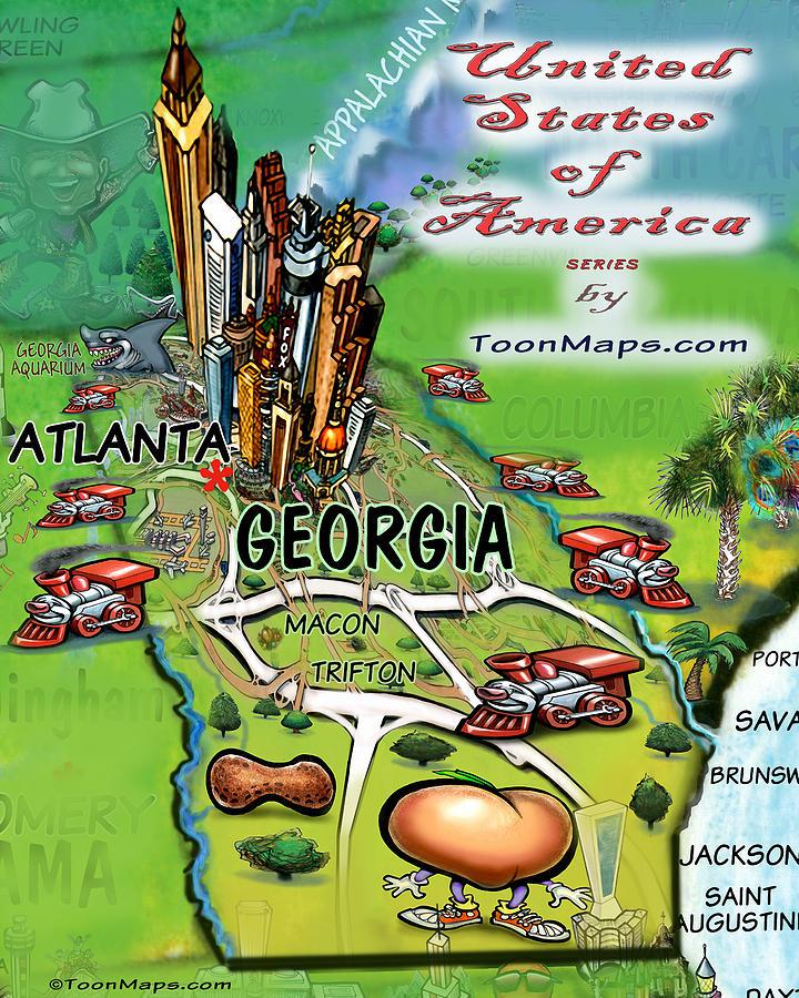 Georgia Cartoon Map Digital Art