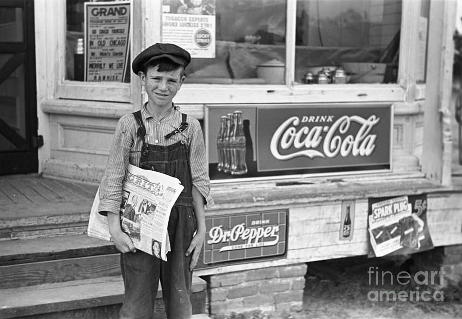 Georgia: Newsboy, 1938 Photograph
