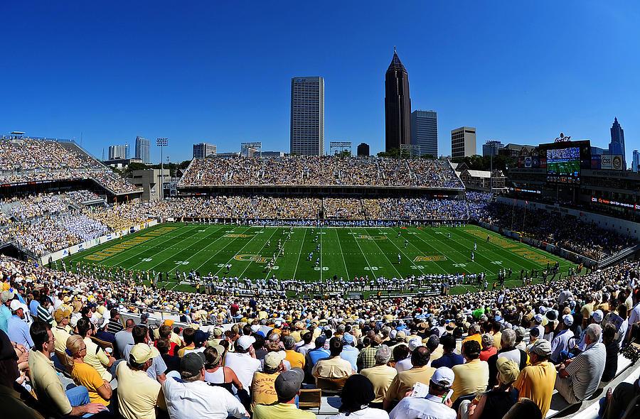 Georgia Tech Bobby Dodd Stadium And Atlanta Skyline  Photograph