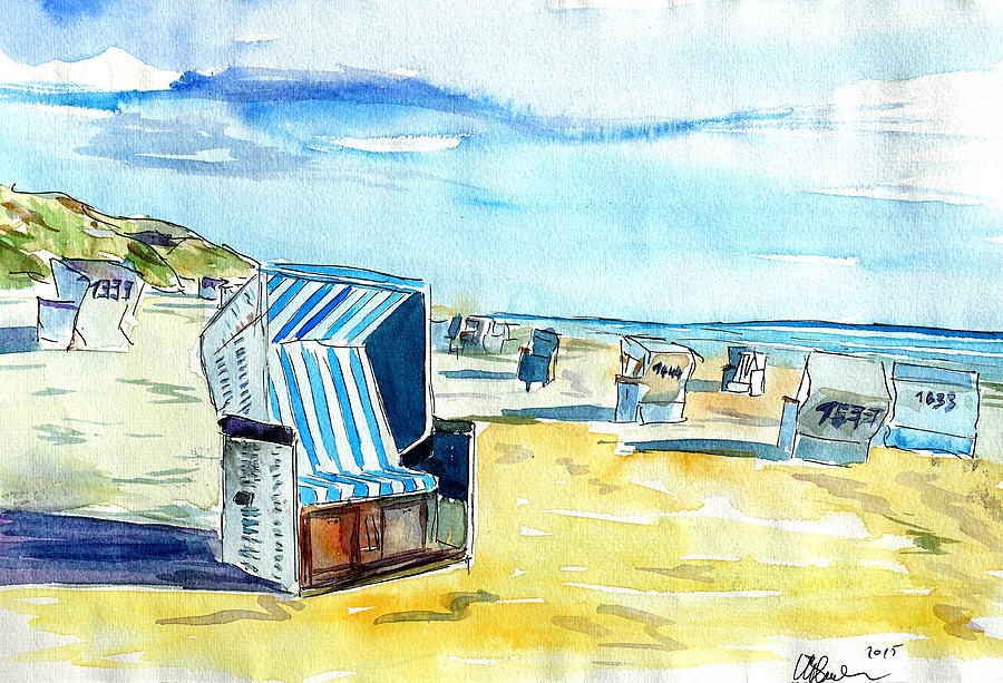 german island feeling on sylt with strandkorb painting by m bleichner. Black Bedroom Furniture Sets. Home Design Ideas