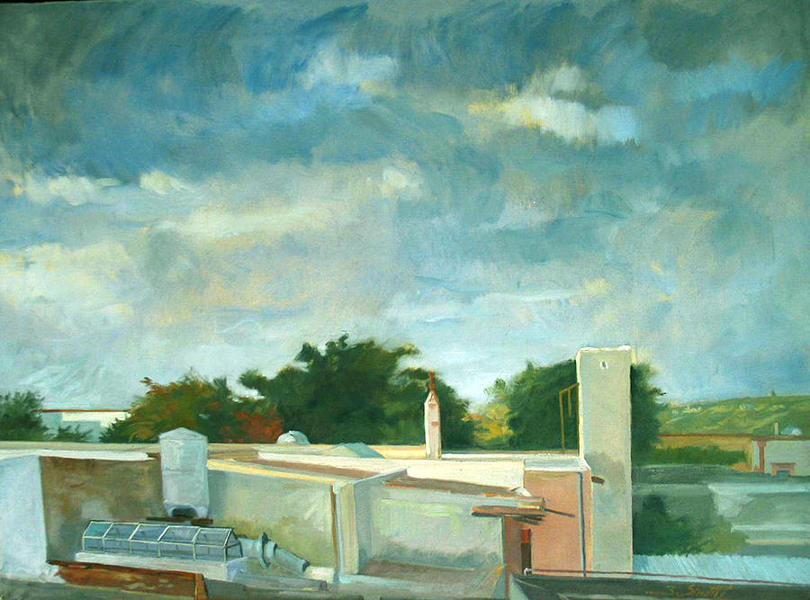 Turbulent Sky Over Flat Rooftops  Painting - Germantown Rooftops by Zois Shuttie