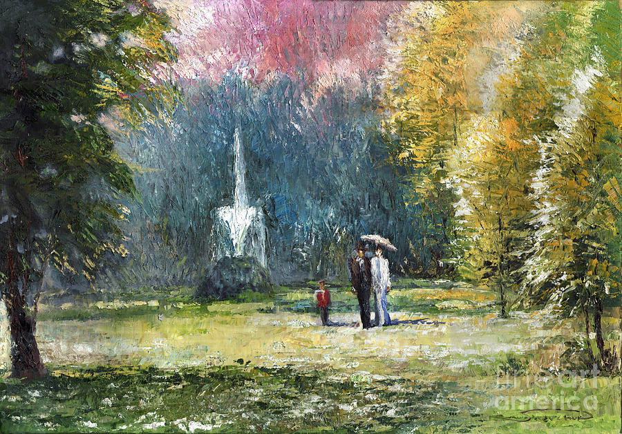 Oil Painting - Germany Baden-baden by Yuriy  Shevchuk