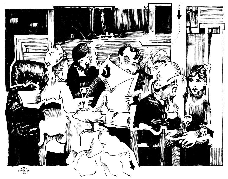 Paris Cafe Scene Drawing - Gervex Paris Cafe by Gary Peterson