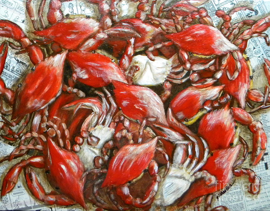 Crab Painting - Get Crackin by JoAnn Wheeler