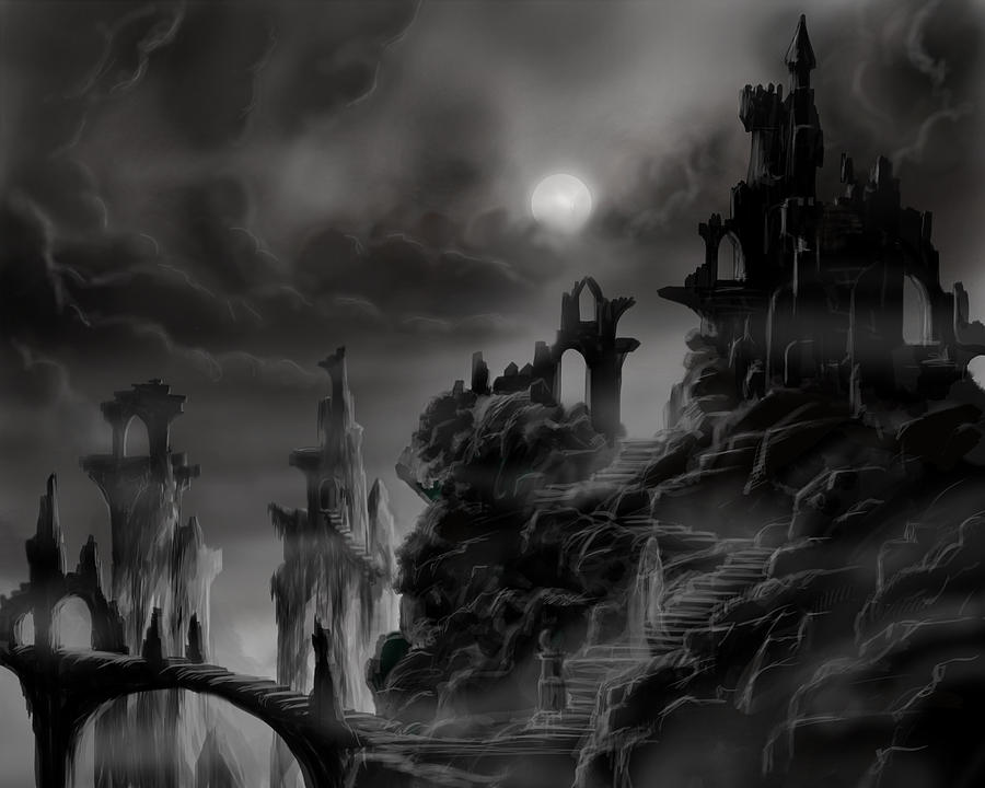 Ruins Painting - Ghost Castle by James Christopher Hill