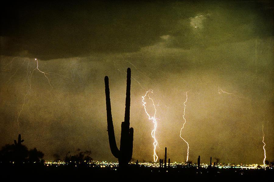 Lightning Photograph - Giant Saguaro Southwest Lightning  Peace Out  by James BO  Insogna