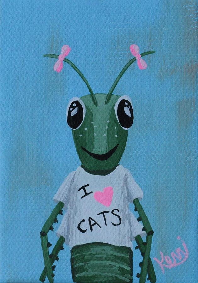 Grasshopper Painting - Gigi The Grasshoppers School Picture by Kerri Ertman