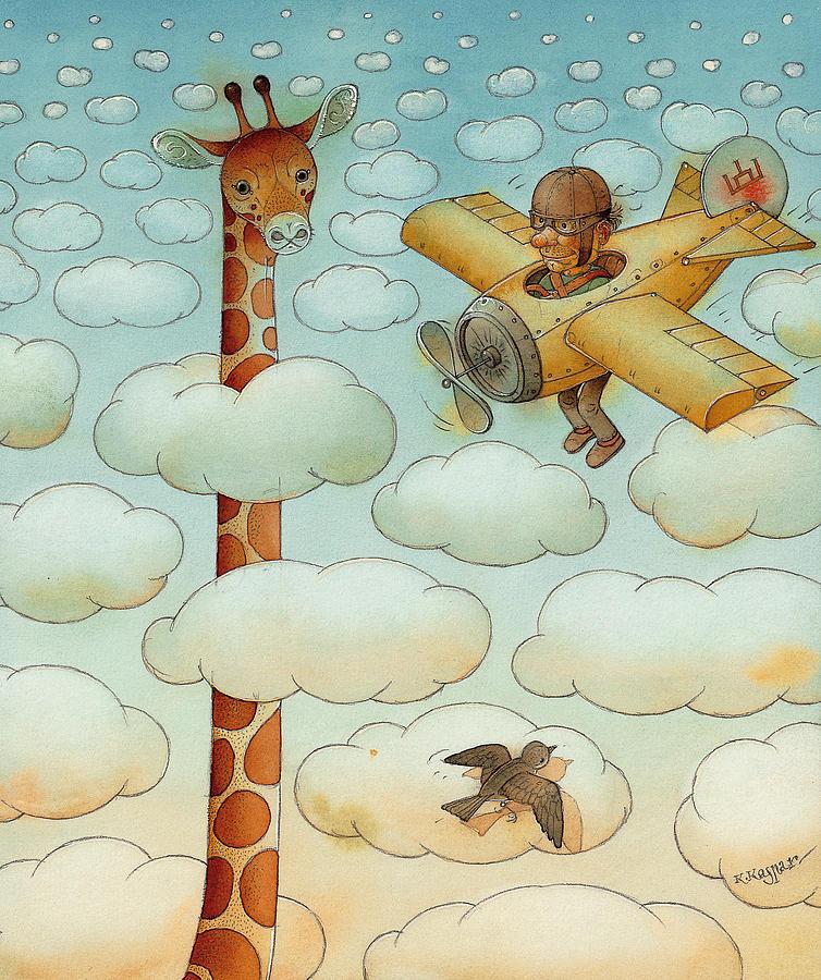 Airplane Sky Flying Giraffe Cloud Pilot Patriotizm Painting - Giraffe by Kestutis Kasparavicius