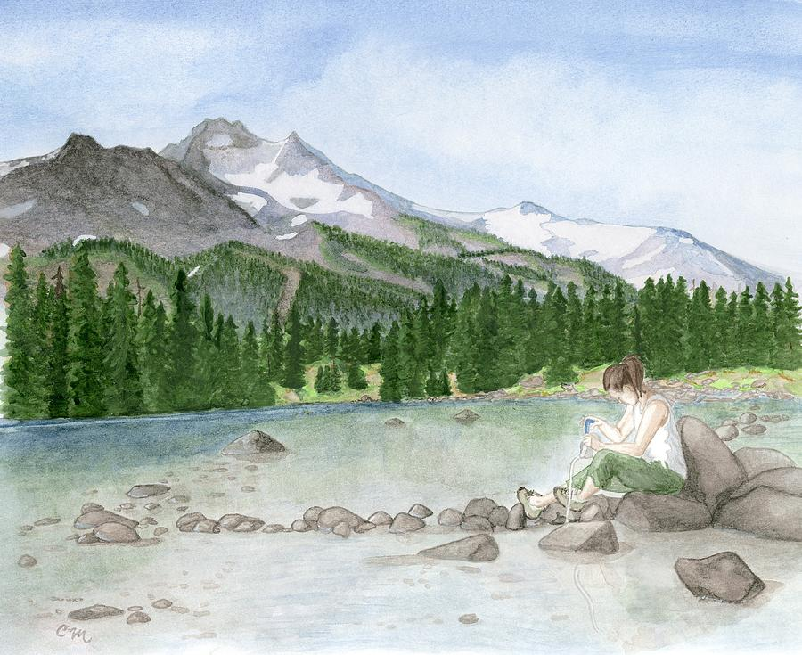Landscape Painting - Girl By Lake by Caroline Moses