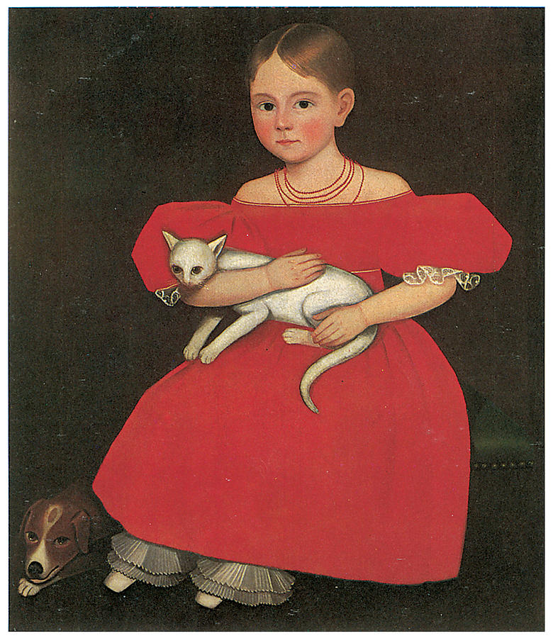 Ammi Phillips Painting - Girl In Red With Her Cat And Dog by Ammi Phillips