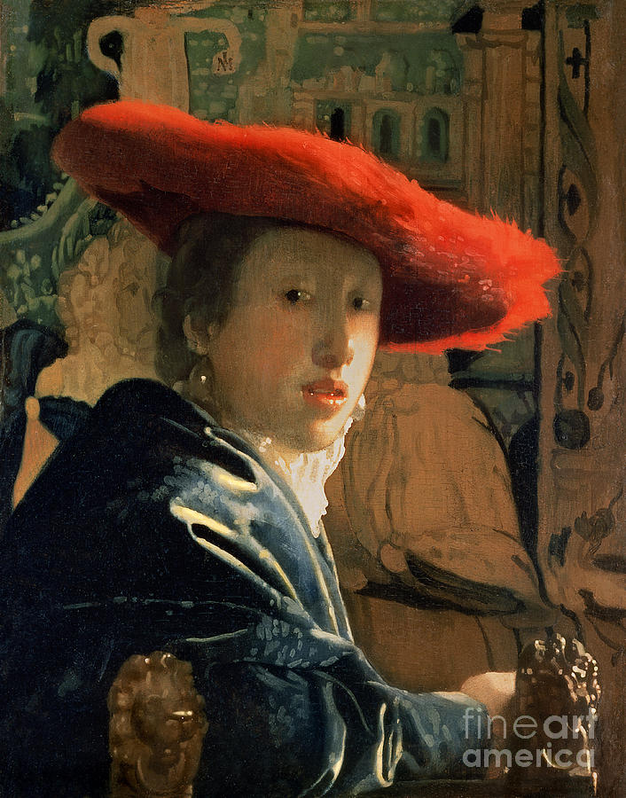 Vermeer Painting - Girl With A Red Hat by Jan Vermeer