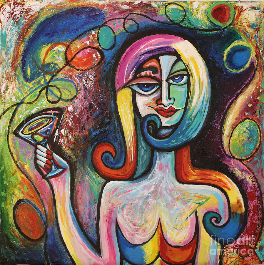 Girl With Martini Cocktail Abstract Painting