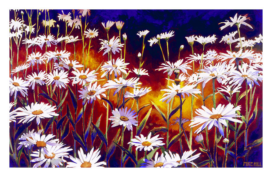 Daisy Daisies Field Flowers Warm Colors Cool Day Blues Painting - Give Me Your Answer Do by Mike Hill