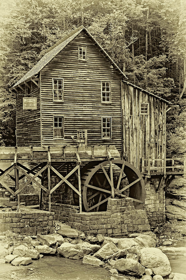 Glade Creek Grist Mill 5 - Sepia Photograph