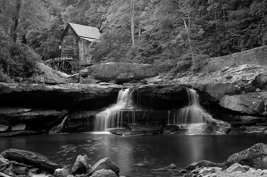 Glade creek grist mill cooper 39 s mill bw photograph by for Coopers mill