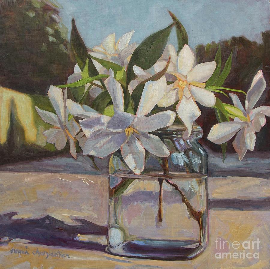 Glass Gardenias Painting By Nanci Charpentier