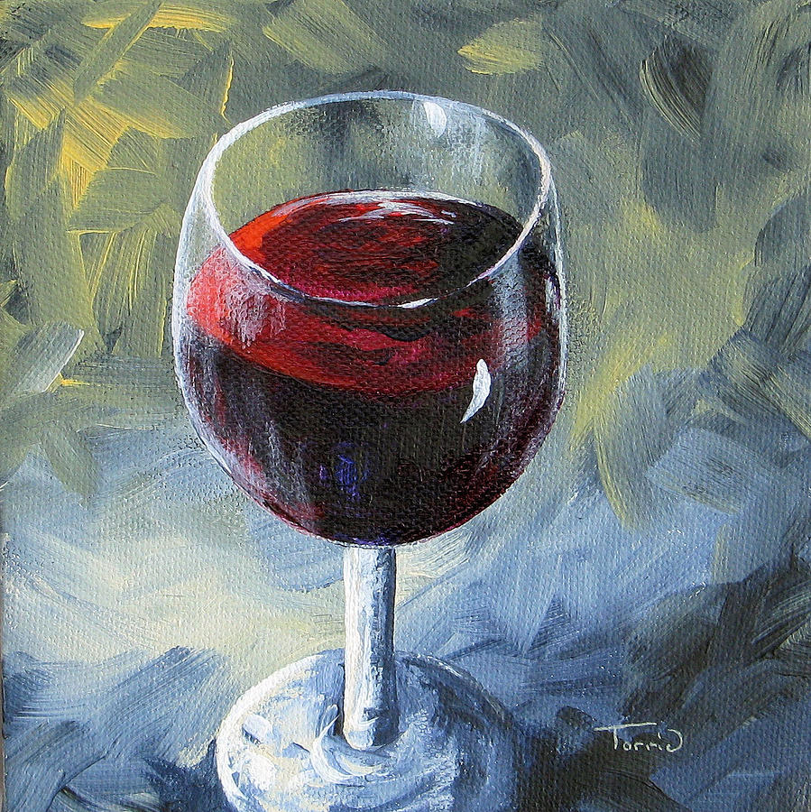 Glass of red wine ii painting by torrie smiley for Type of paint to use on wine glasses