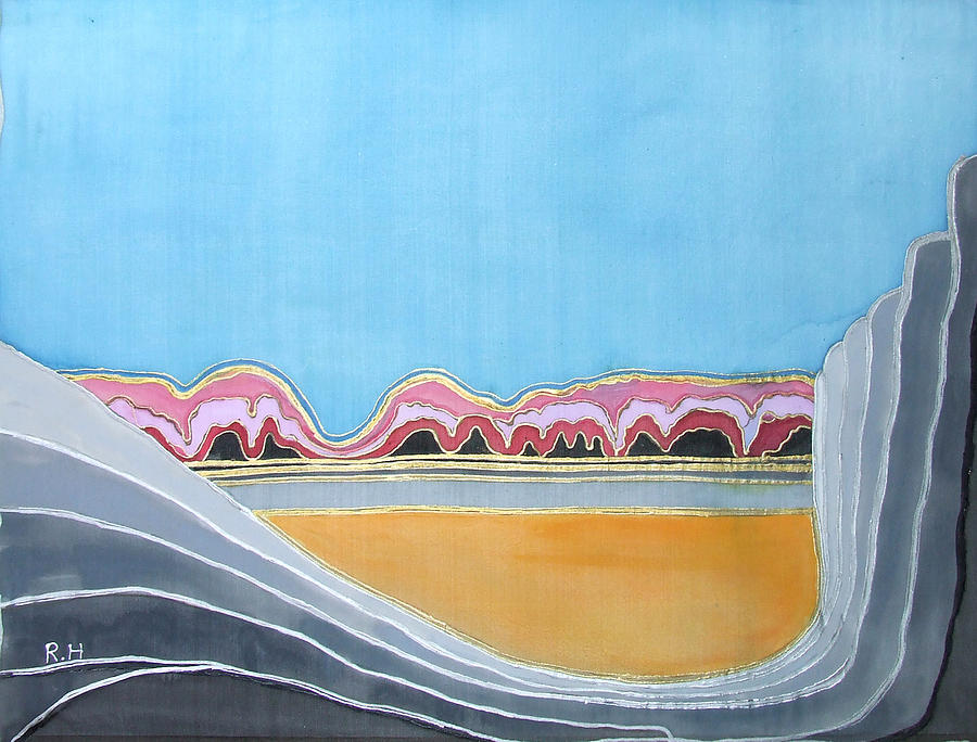 Silk Painting - Global Warming Silk Melting Glaciers Valley Or Where Did All My Blue Glaciers Go  by Rachel Hershkovitz