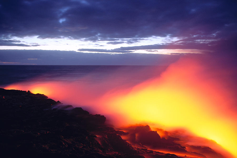 A'a Photograph - Glowing Lava Flow by William Waterfall - Printscapes