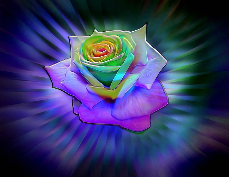Glowing Neon Rose Digital Art By Lilia D