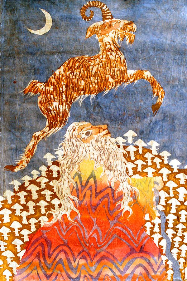 Fantasy Tapestry - Textile - Goat Leaping Over Wood Elf by Carol  Law Conklin