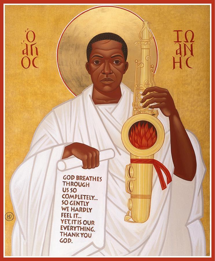 Saint John Coltrane. Black Christ Religion Painting - God Breathes Through The Holy Horn Of St. John Coltrane. by Mark Dukes