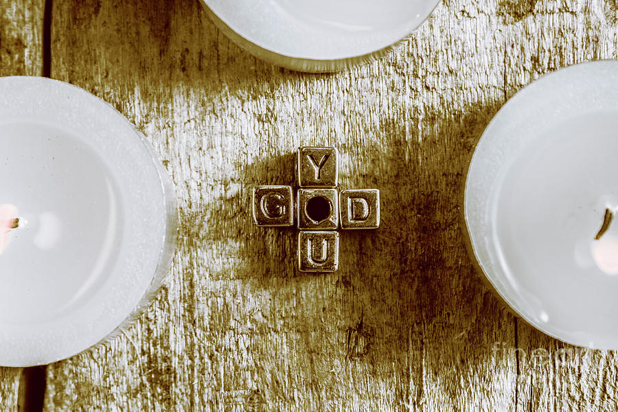 God Is You Metal Lettering Typography Near White Candles, Faith Photograph