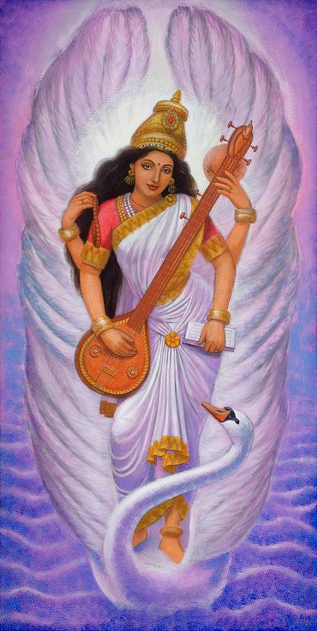 Saraswati Painting - Goddess Saraswati by Sue Halstenberg