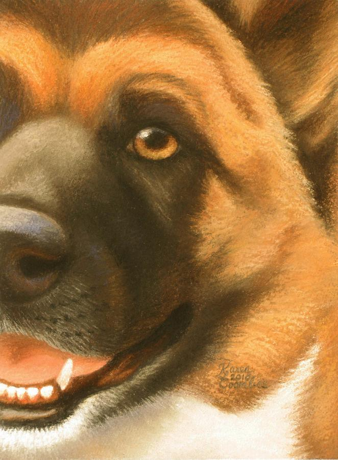 Dog Pastel - Goggie Akita by Karen Coombes