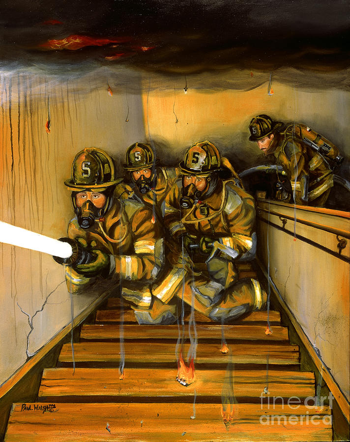 Fire Fighting Painting - Goin To Work by Paul Walsh