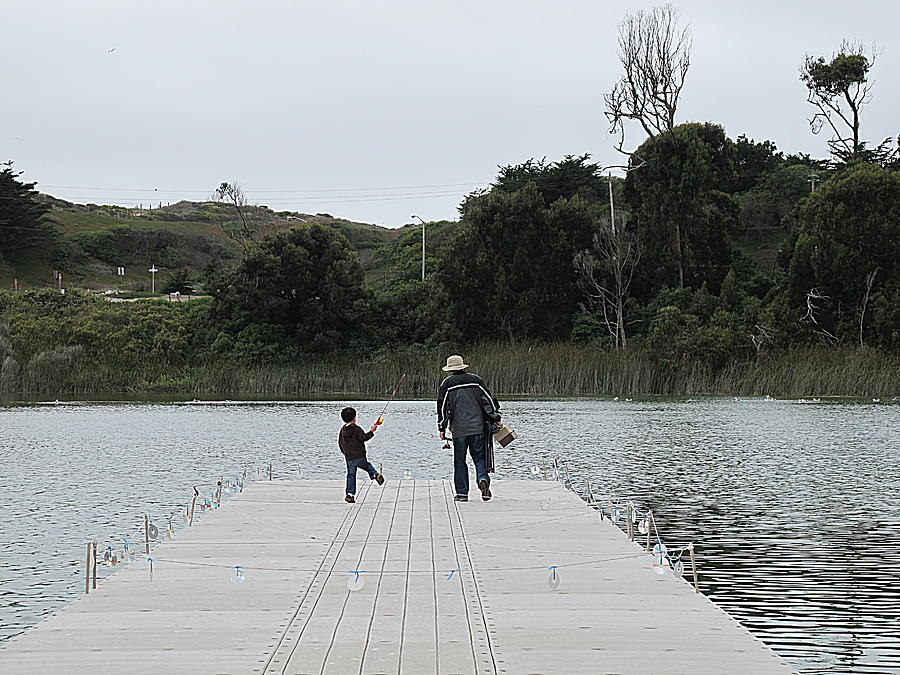 Fishing With Dad Photograph - Going Fishing With Dad Happy Dance by John King