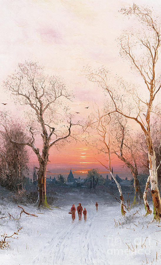 Sunset; Ice Painting - Going Home by Nils Hans Christiansen