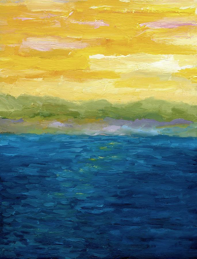 Lake Painting - Gold And Pink Sunset  by Michelle Calkins