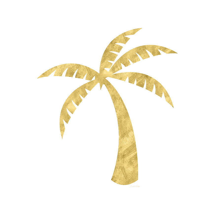 Gold Palm Tree- Art By Linda Woods Mixed Media