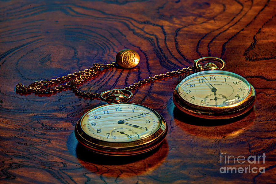 Gold Pocket Watches Photograph