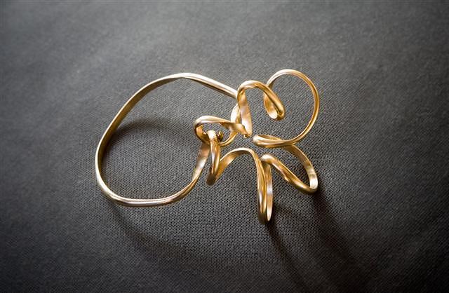 14k Gold Wire Jewelry - Gold Wire Bracelet  by Gisela Naepflin