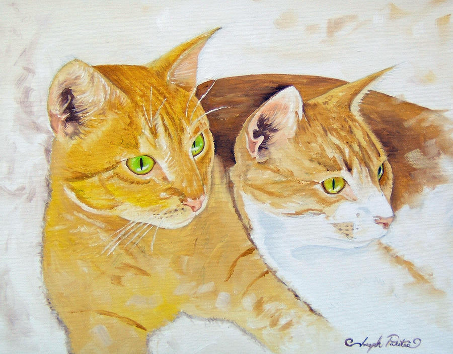 Cats Painting - Golden Cats by Joseph Palotas