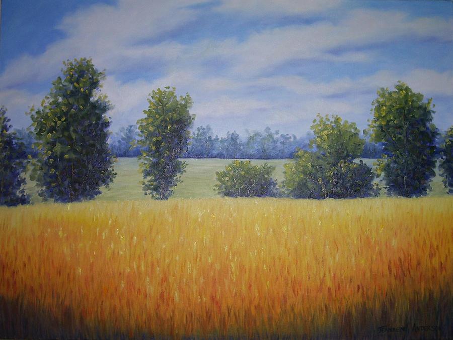 Gold Painting - Golden Fields by Jeannene Anderson