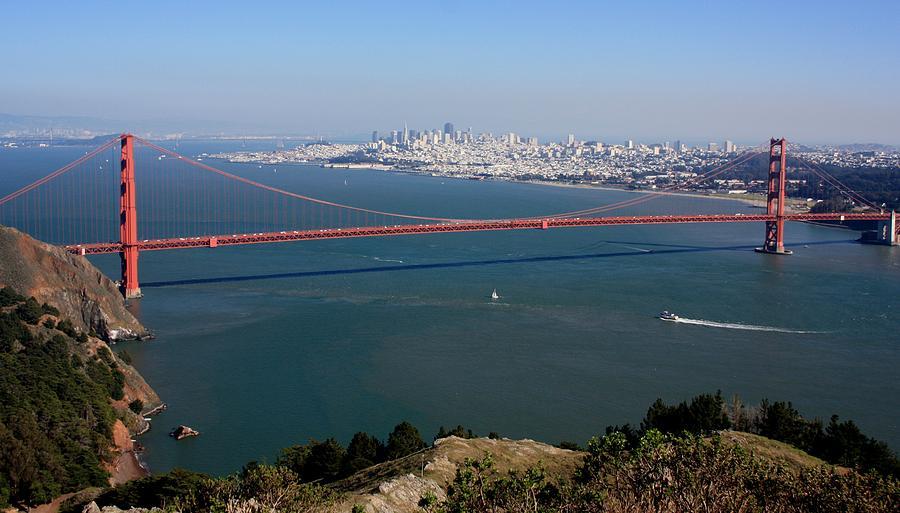 Golden Gate Bidge And Bay Photograph