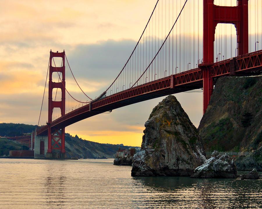 Golden Gate Bridge Photograph - Golden Gate Bridge At Sunset by Pamela Rose Hawken
