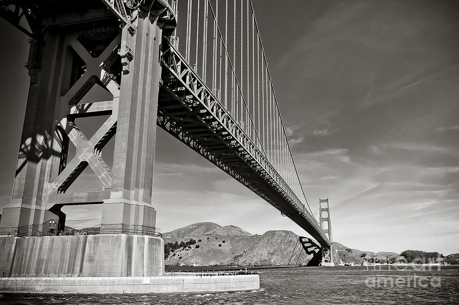 Black And White Photograph - Golden Gate From The Water - Bw by Darcy Michaelchuk