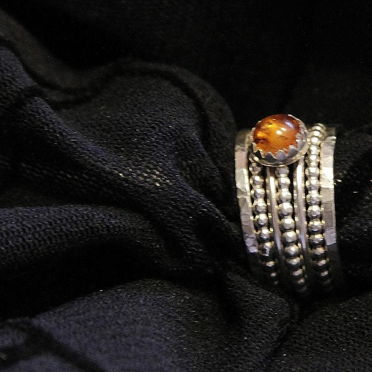 Handmade Jewelry Sculpture - Golden Honey Baltic Amber And Stackable Sterling Silver Bold Rings by Nadina Giurgiu