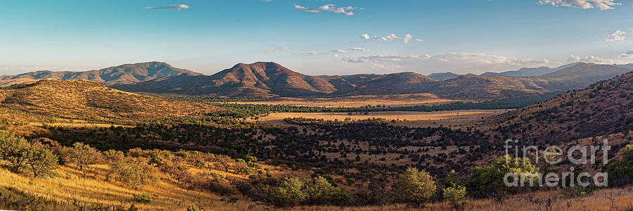 Golden Hour Panorama Of Davis Mountains - Blue And Paradise Mountain And Mount Livermore West Texas Photograph