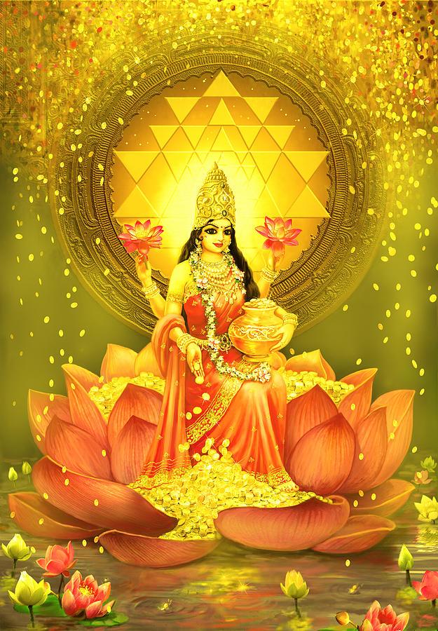 Lakshmi Goddess Of Fortune Painting by Vishnudas Art