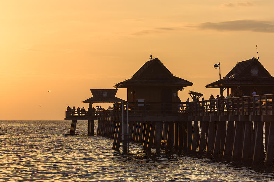 Golden Light At Naples Pier Photograph