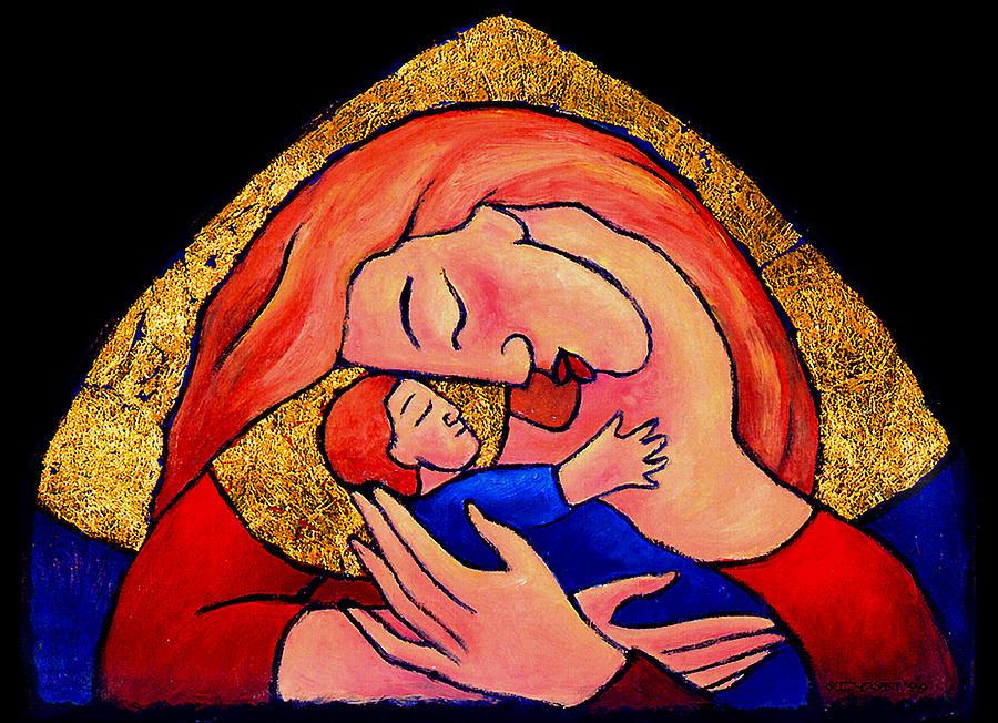 Tablitos Painting - Golden Mama by Angela Treat Lyon