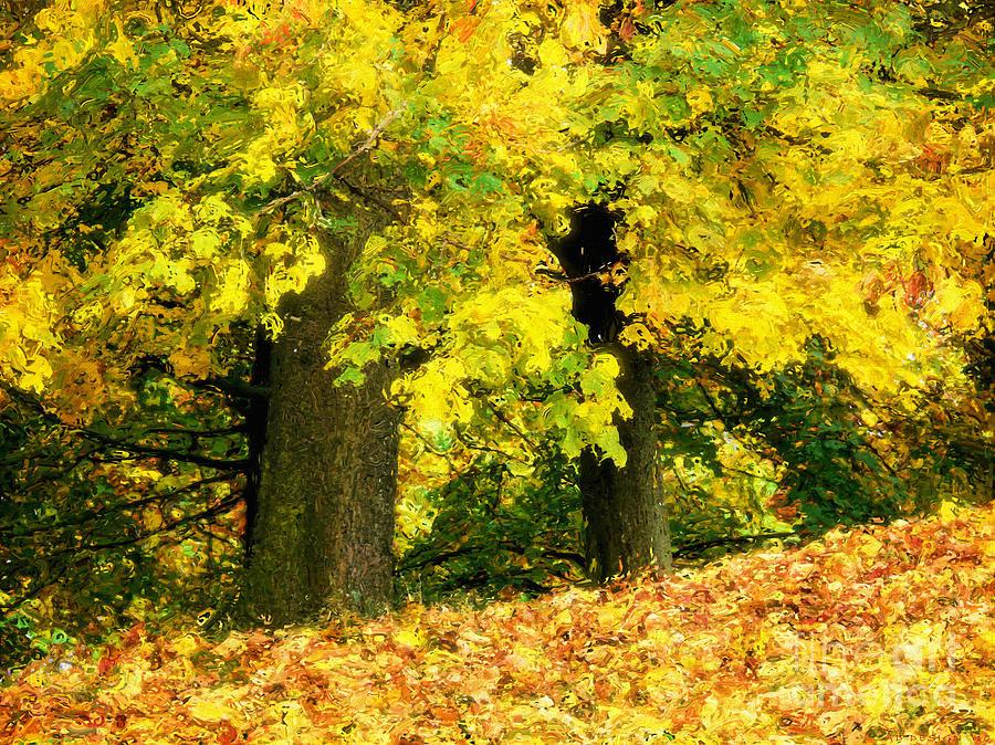 Golden Digital Art - Golden October by Angela Doelling AD DESIGN Photo and PhotoArt
