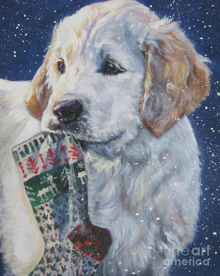 Golden Retriever Painting - Golden Retriever With Xmas Stocking by Lee Ann Shepard