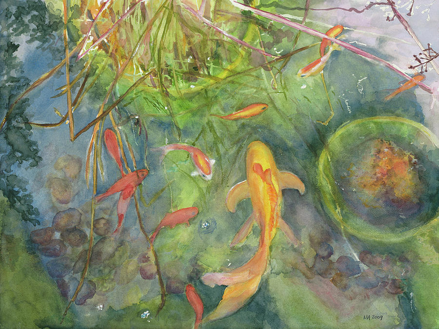 Goldfish pond 1 painting by madeleine arnett for Goldfish pond plants