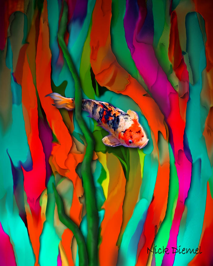 Goldfish Digital Art - Goldfish World by Nick Diemel